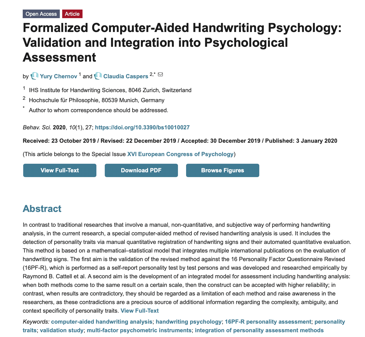 Computer and Handwriting Psychology: Integration into Psychological Assessment