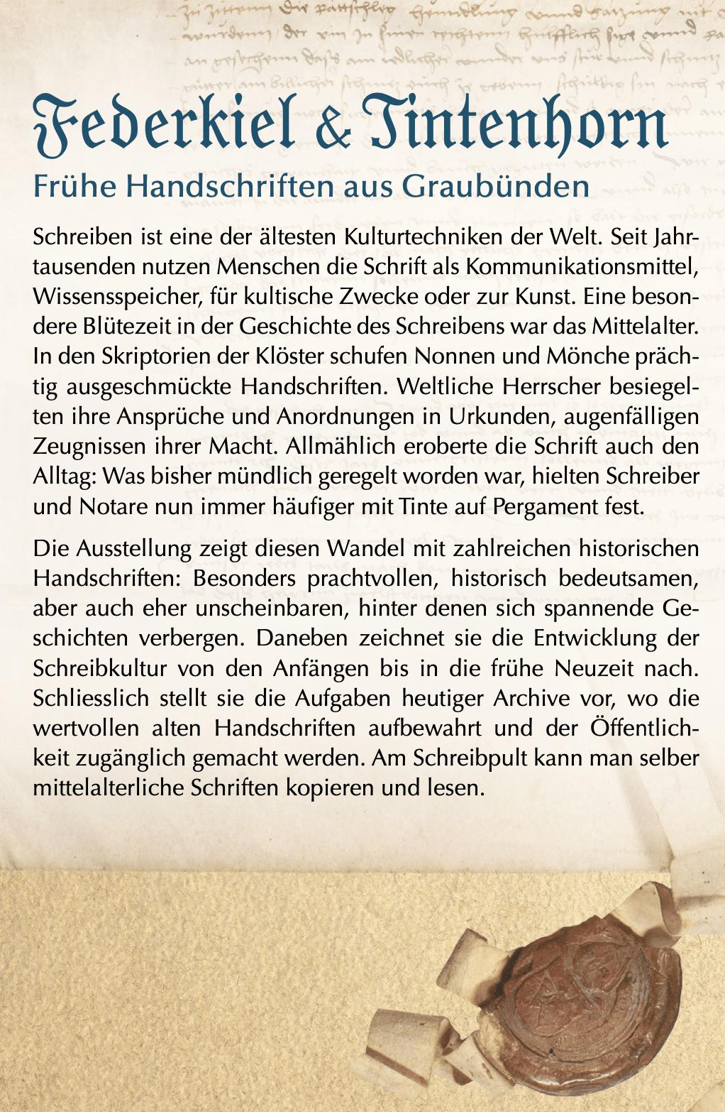 Ausstellung Frühe Handschriften in Graubünden